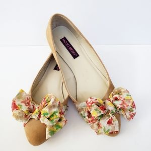 Mojo Moxy Suede Floral Bow Flats